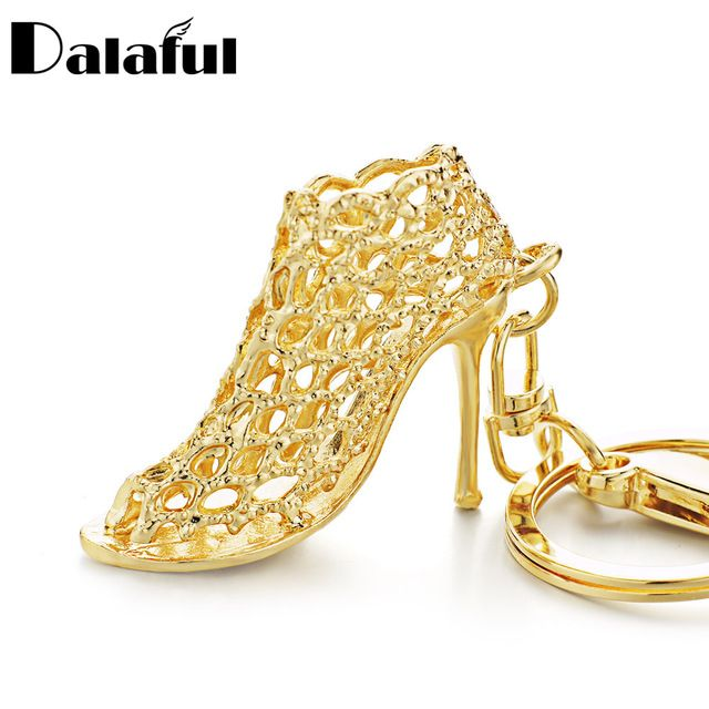 Dalaful Hollow Out High heel Shoes Keychain Purse Bag Buckle