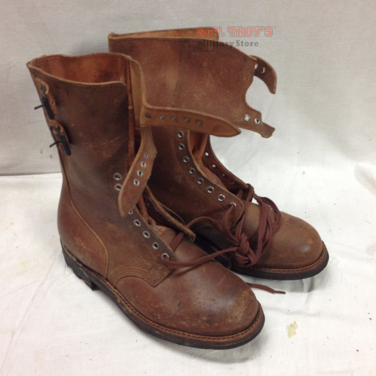 b1dfc4c6ad5 1960s French Combat Boots Genuine Leather Size 44 (10) Vintage ...