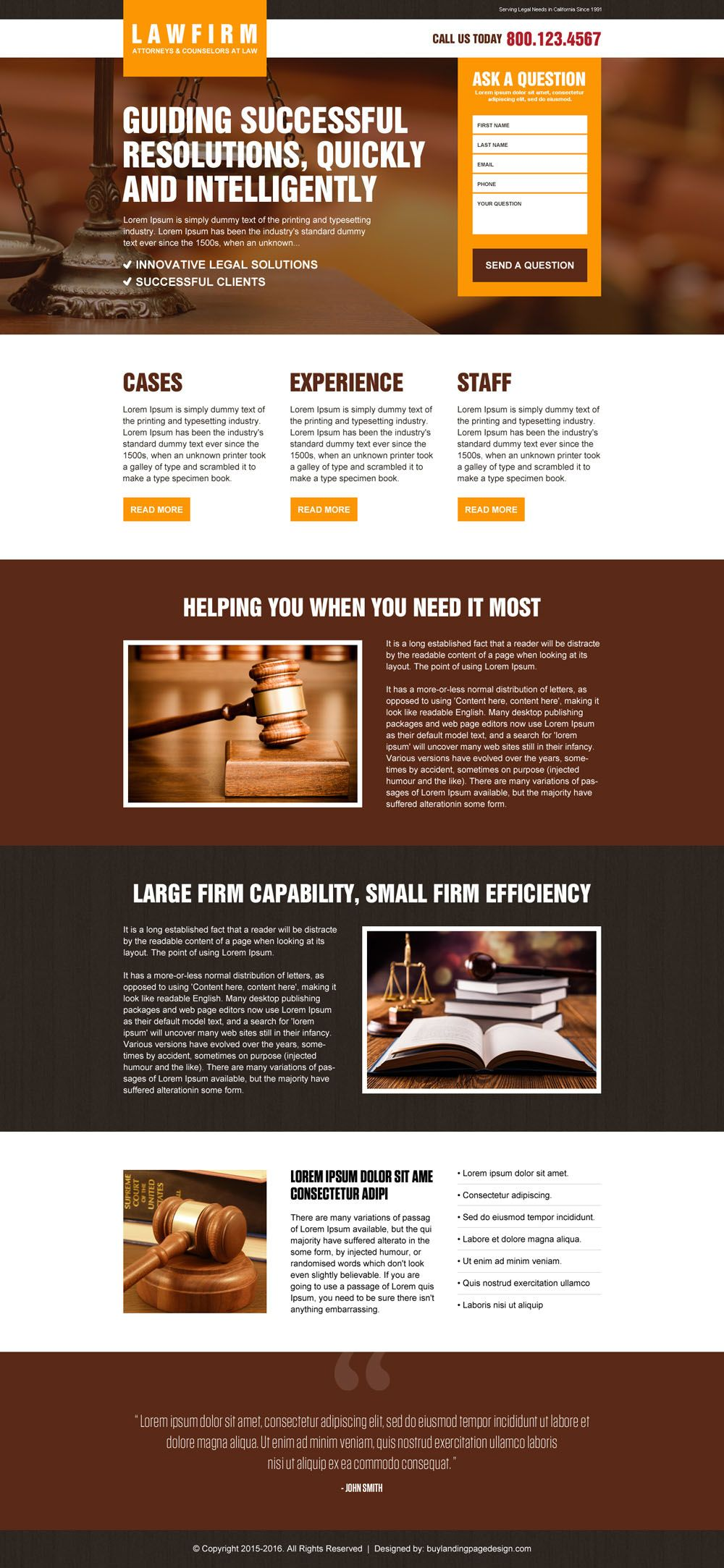 best law firm lead gen landing page design template | attorney and ...