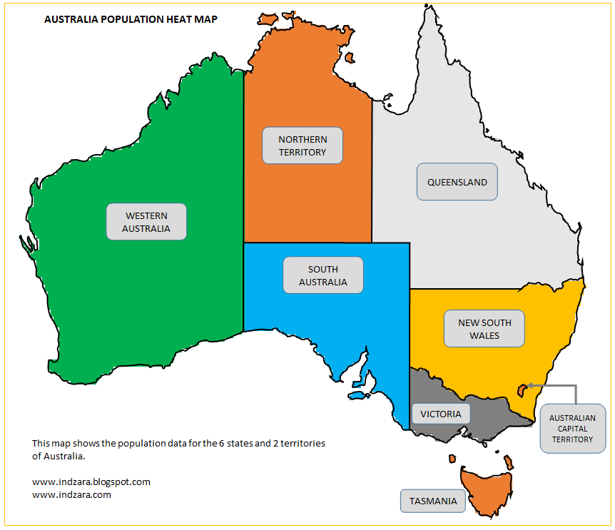 Map Of Australia And New Zealand With Capitals.Australian Population Heat Map Maps Of Australia Australasia