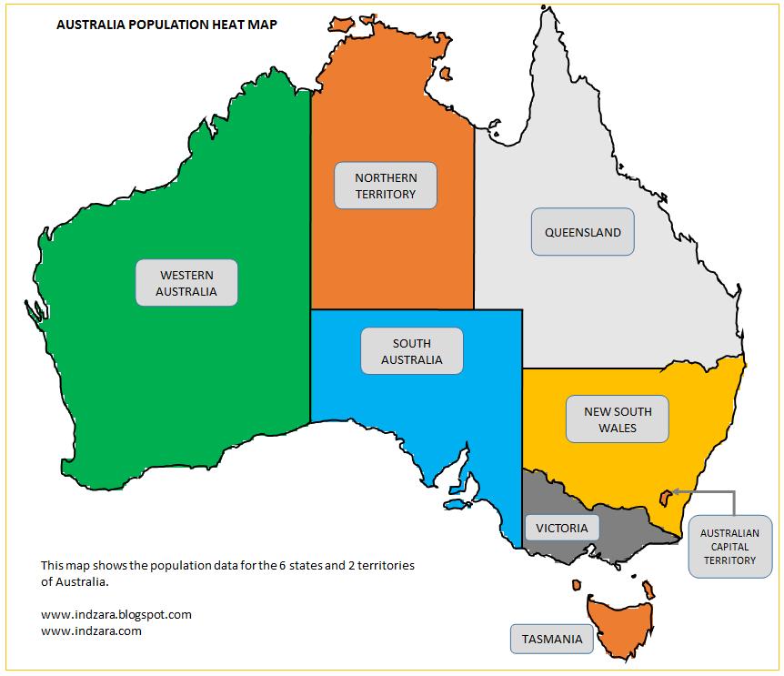 Australian Population Heat Map – Population Map of Australia