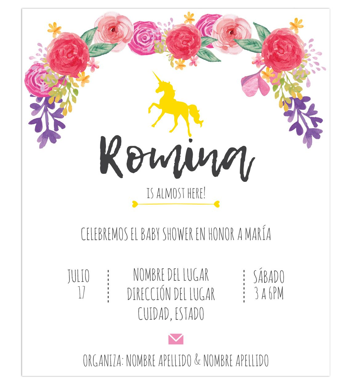 Invitación Baby Shower Unicornio Flores Baby Shower
