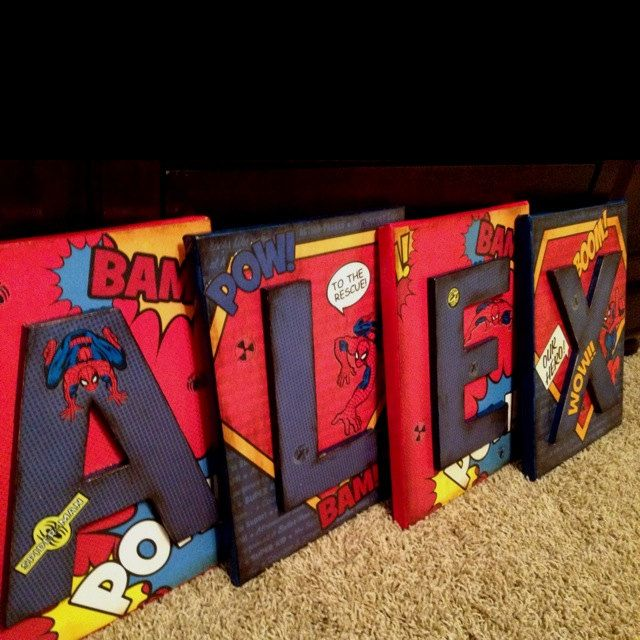 Hudson S Big Boy Room Maybe Use Superman Spiderman Letters Wall Decor By Modgeandapodge On Etsy Would Look Great In A Superhero Bedroom