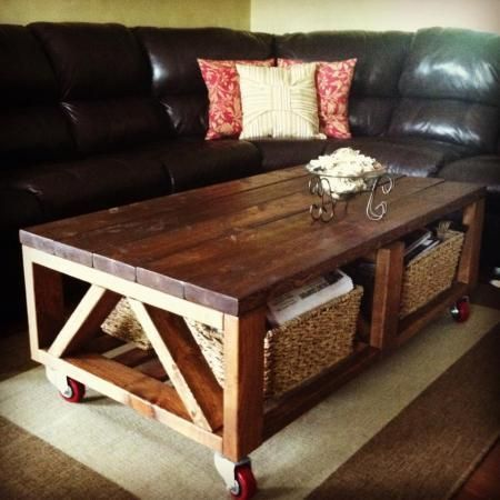 Add casters to this your diy coffee table best made for Industrial farmhouse coffee table