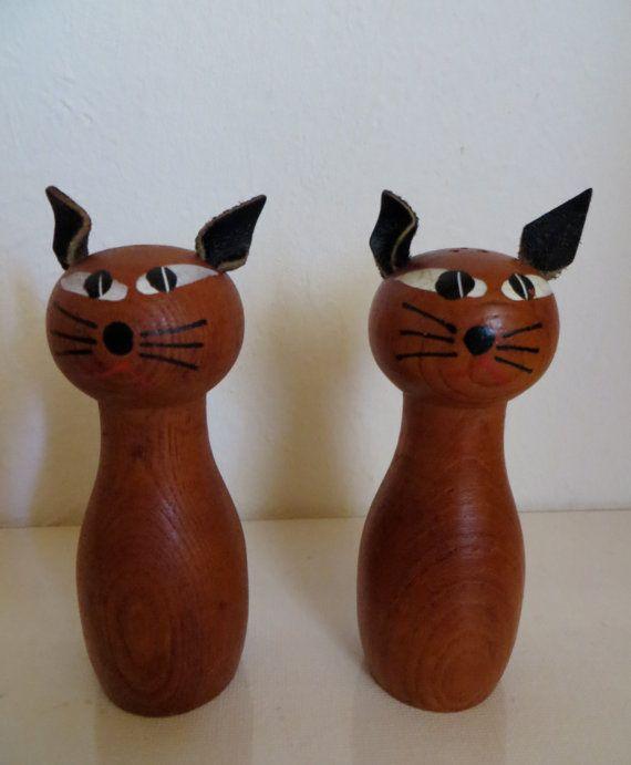 Vintage houten katten voor peper & zout / Deens design door kunstmus, €22.00