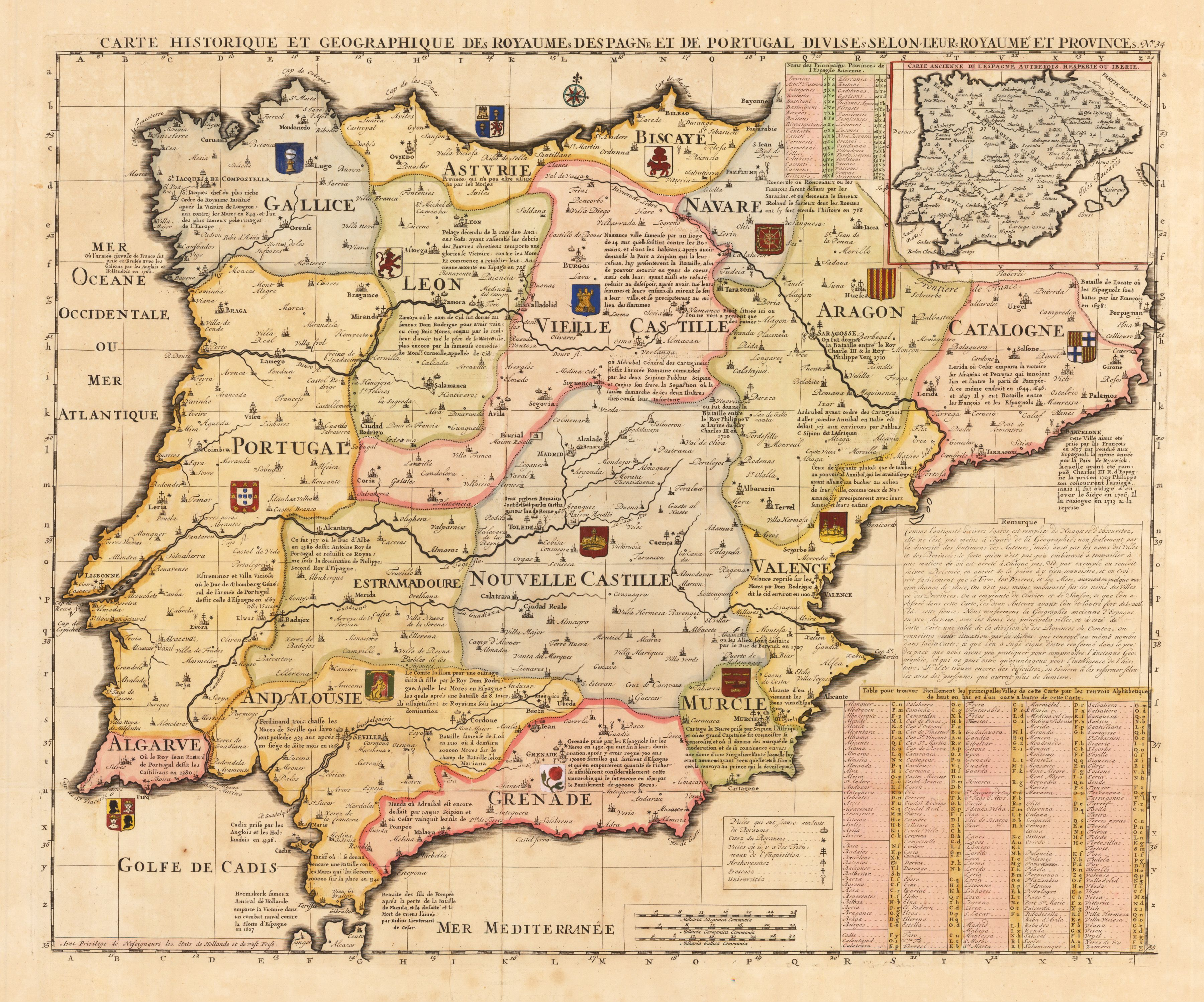 French map of Spain and Portugal early 18th century