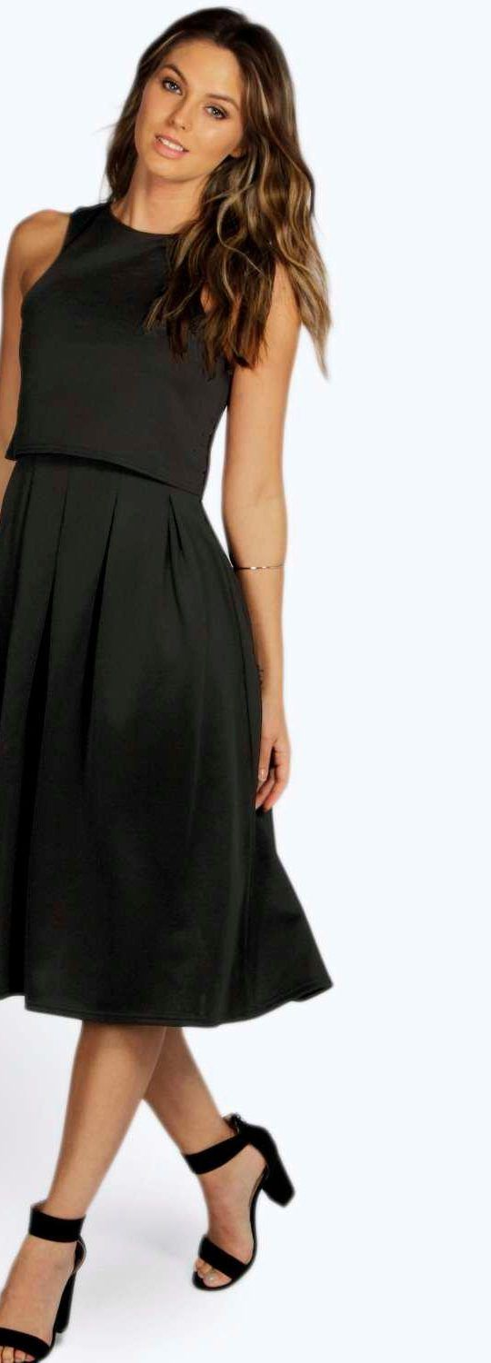 Lizy Double Layer Midi Length Skater Dress - Dresses  - Street Style, Fashion Looks And Outfit Ideas For Spring And Summer 2017