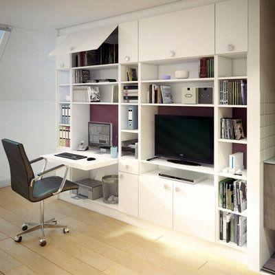 Les Rangements Design Sur Mesure De Chic Mon Placard Bibliotheque Avec Bureau Integre Meuble Et Meuble Salon Design
