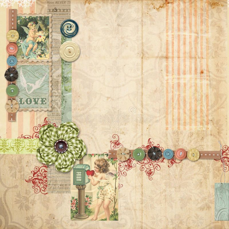 Pink Scrapbook Layout With Vintage Embellishments Grungy Pink Scrapbook Layout Affiliate Scrapbooking Layouts Vintage Scrapbook Themes Vintage Scrapbook