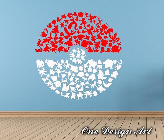 Pokemon Wall Decor huge pokeball poke ball pokemon decal, vinyl sticker, wall decor