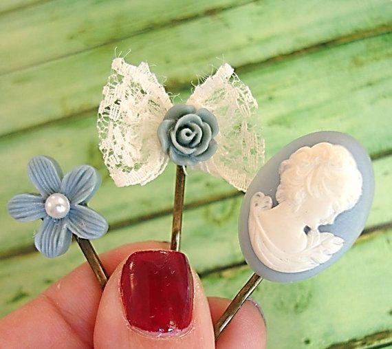 Cameo Hair pin Blue Rose Hair Bobby Pin Flower Bobby by JEWAINE, $15.00