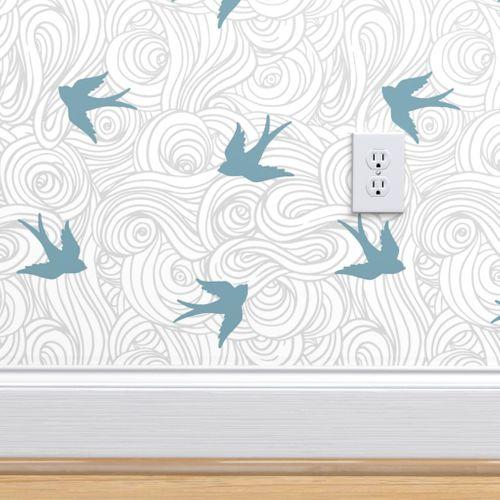 Ocean Flight In Overcast Calm And Sea Spoonflower Wallpaper Removable Wallpaper Bird Wallpaper