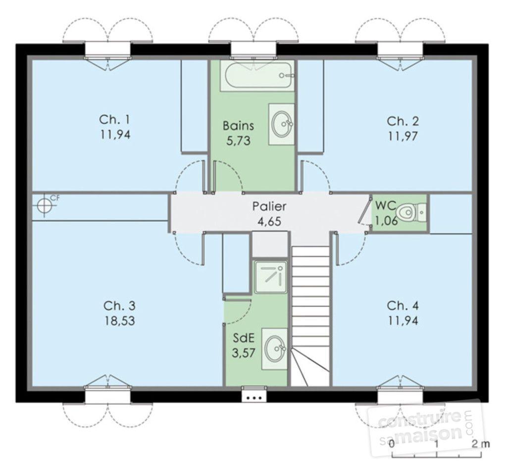 Epingle Sur Plan Maison Rectangle 20 Aout