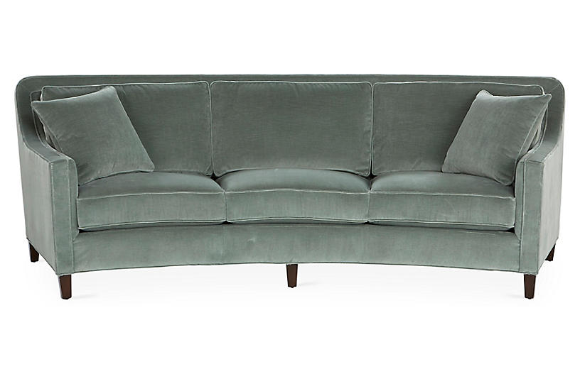 Caymen Curved Sofa Sage Velvet Curved Sofa Sofa Curved Couch