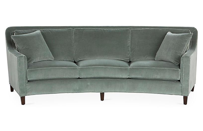 Caymen Curved Sofa Sage Velvet Miles Talbott