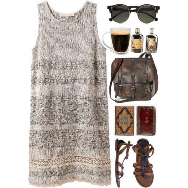 Vanessa Bruno Knit Dress Lace Detail + round sunglasses + vintage brown leather strap bag + sandals