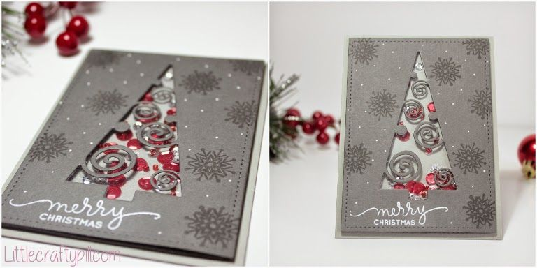 "Christmas Shaker Card made with Deco Tree Die, SSS Shades of Gray Cardstock and the ""Presents and Ornaments"" Stamp set #SSSFAVE http://www.littlecraftypill.com/2014/12/christmas-shaker-card.html"