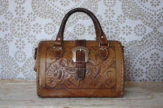 Vintage Tooled Leather Doctors Bag Style Purse by pursuingandie, $46.50