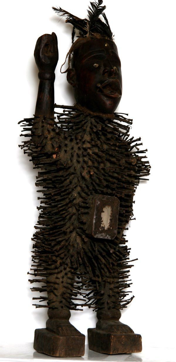 Title African Man Medium Carved Wood Nails And Mixed Media Size 38 X 17 X 10 Inches 1116 African American H African Sculptures Sculpture Wood Sculpture
