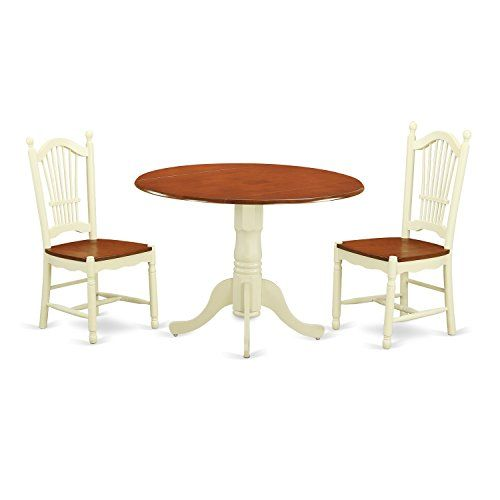 East West Furniture DLDO3 BMK W 3 Piece Kitchen Dinette Table And 2 Dining