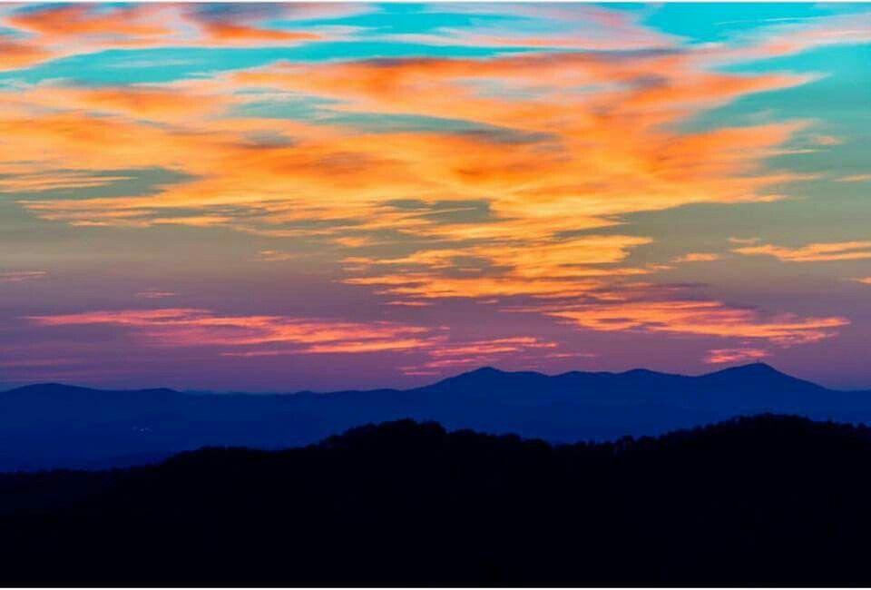 Smoky Mountain Sunrise Collage Landscape Sunrise Art Landscape Art Quilts