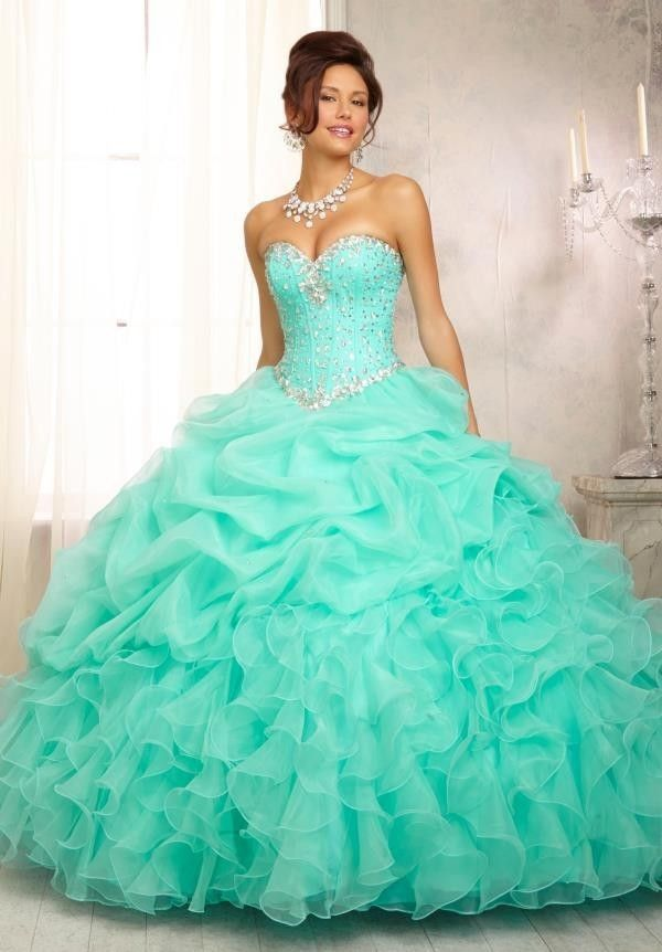 91c8a9cca Find More Quinceanera Dresses Information about Sweetheart Beads Ruffle  Organza Mint Green Cheap Quinceanera Dresses Strapless Masquerade Vestido  Para 15 ...