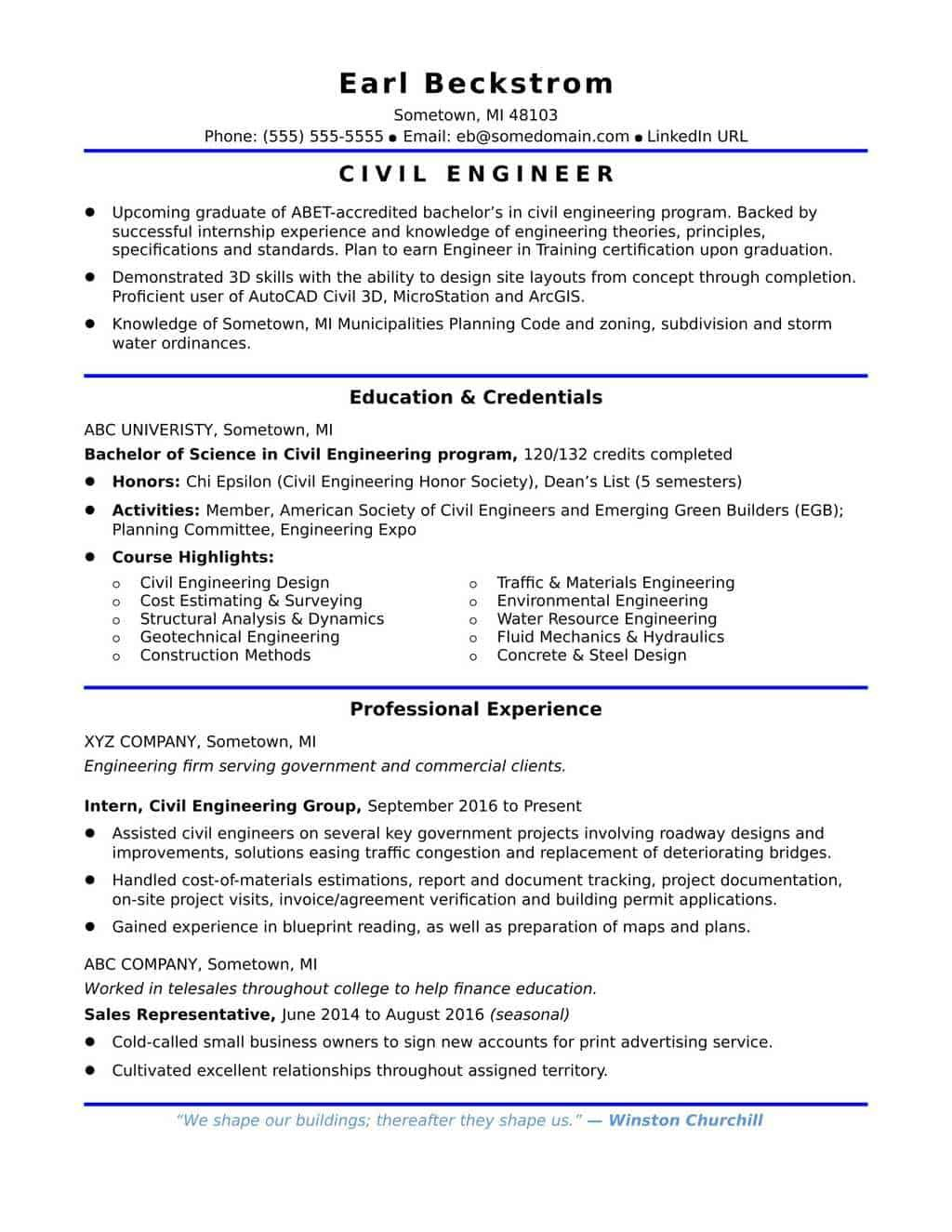 Resume Samples for Civil Engineer in the Philippines in