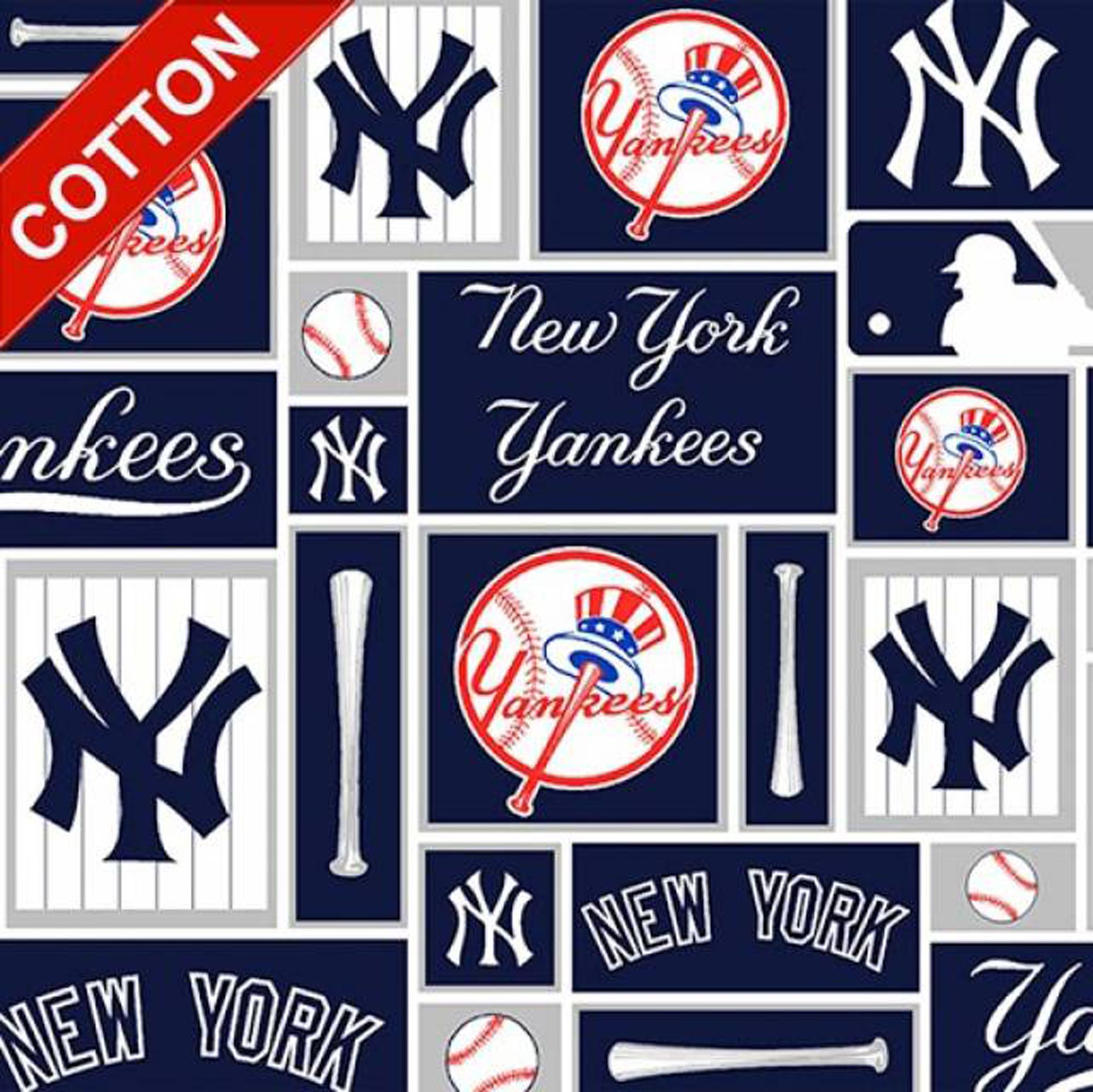 New York Yankees Blocks Cotton Fabric Mlb Cotton Fabric By The Yard In 2020 New York Yankees Baseball New York Yankees Yankees