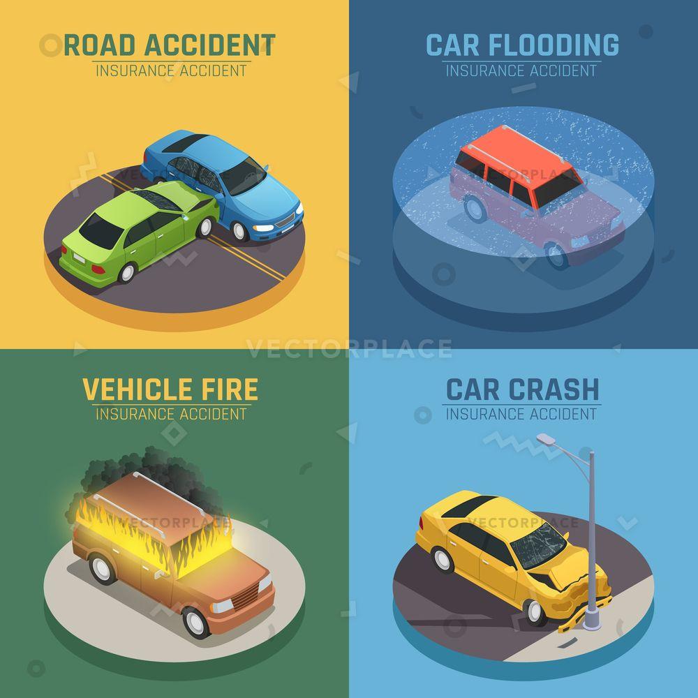 Auto insurance concept 4 isometric icons vector