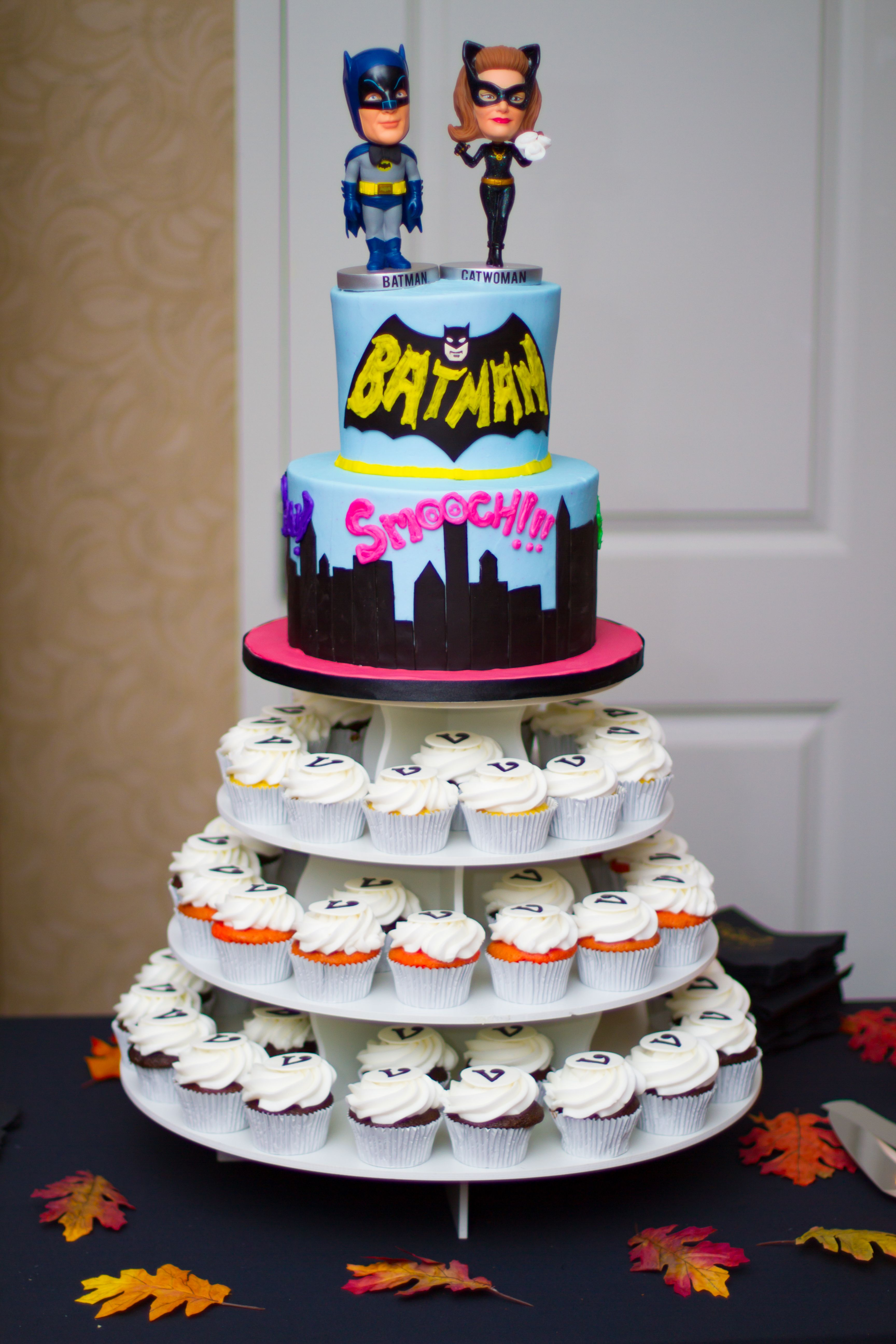 Wide shot of our Batman Wedding cake