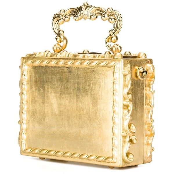 Dolce & Gabbana baroque box clutch ($7,395) ❤ liked on Polyvore featuring bags, handbags, clutches, top handle handbags, metallic purse, dolce gabbana purses, hardcase clutch and wooden handbags
