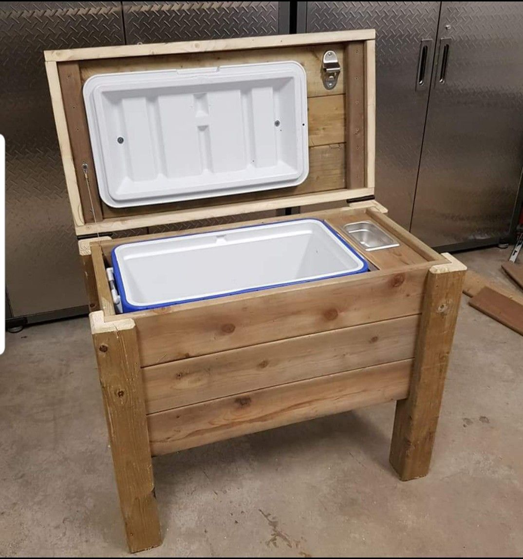 Pin By Brew With Kits On Projects Wooden Cooler Wood Cooler Outdoor Cooler