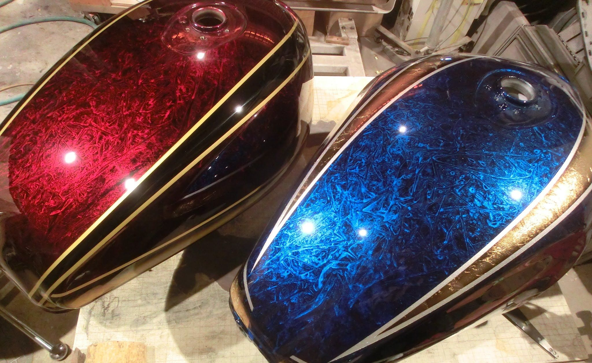Custom Paint Shops Near Me >> Motorcycle tank paint job. Making trick paint with silver and plastic foil coated with candy and ...