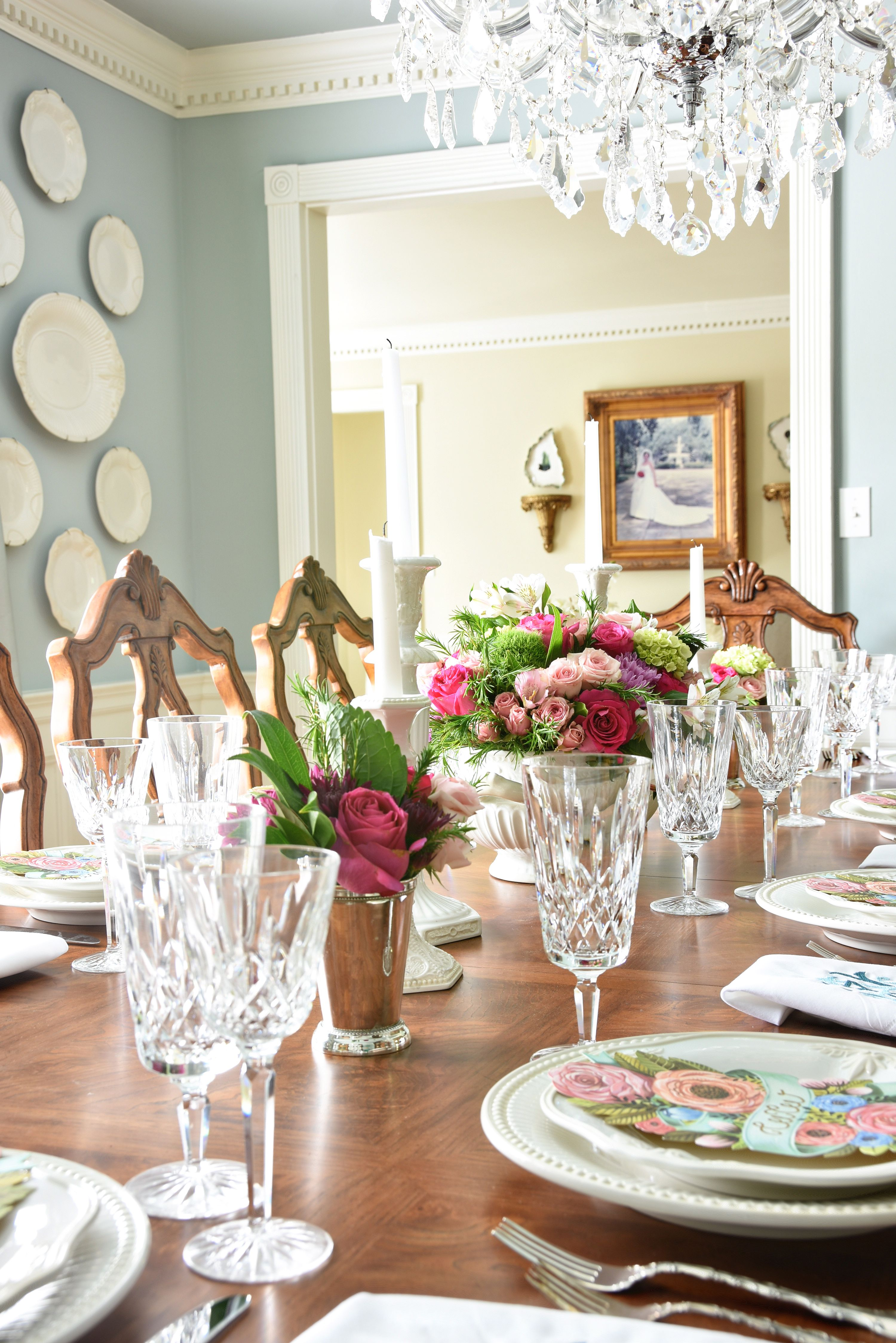 Formal Dining Table For Easter Spring Events Formal Dining Tables Dining Room Table Centerpieces Dining Room Colors