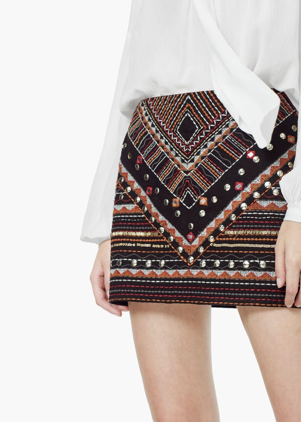 46248f099 Falda bordado abalorios - Mujer