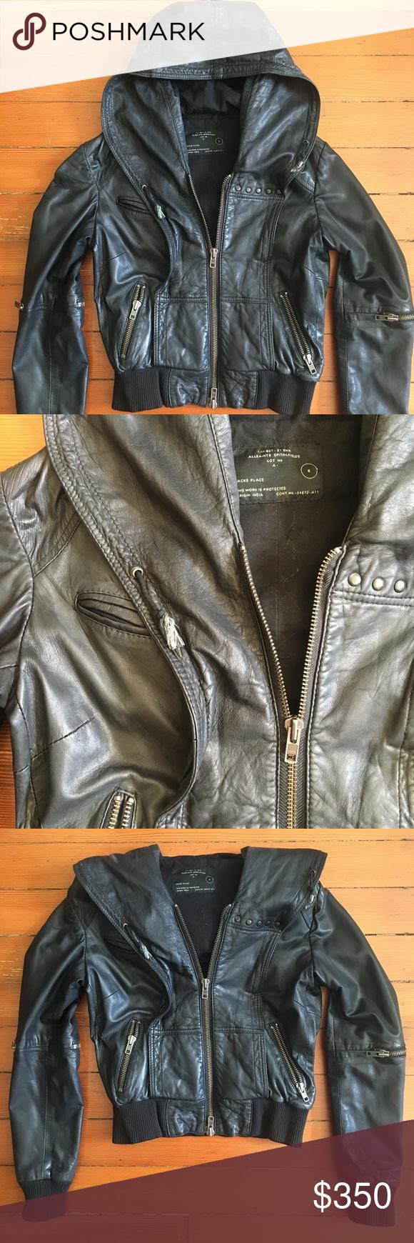 7350a8e9f ALL SAINTS Black Cobra Hooded Leather Jacket ALL SAINTS Vintage ...