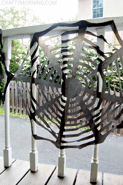 Trash Bag Spider Web Decorations For Halloween Step By Step