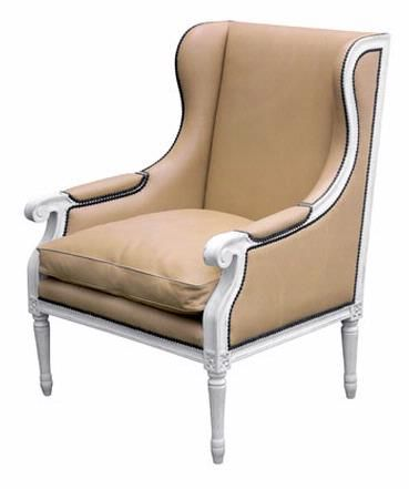 Upholstered Duncan Wing Back Chair with White Herringbone ...