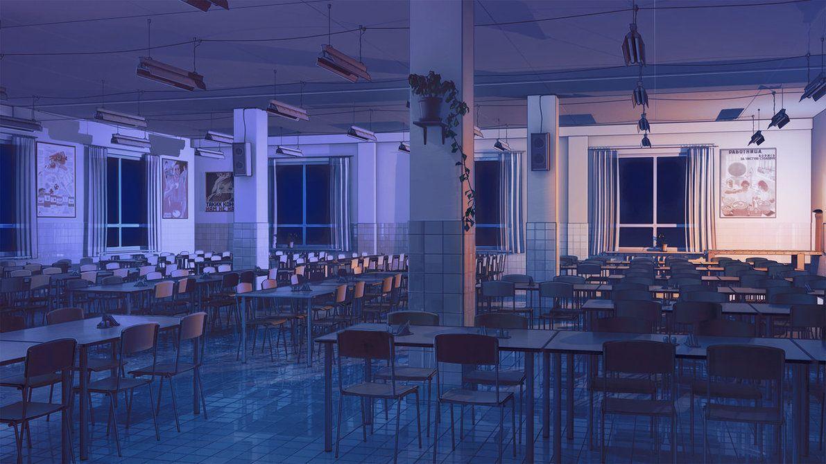 Canteen inside night by *arsenixc on deviantART find