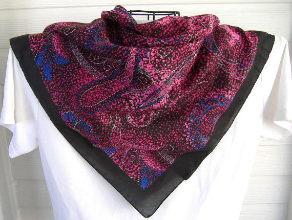 Scarf Stylized Foliage 30 Inches Square 1980s Pink Blue Black Elegant Pointilist Pop Art