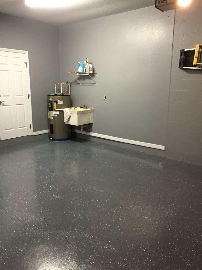 Gray Painted Walls With Charcoal Epoxy Speckled Floor