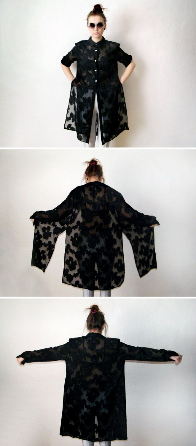 98d690e5 90s Black Long Duster - Vintage Floral Goth Grunge Sheer Tunic Blouse Gypsy  Kimono Long Sleeve Button Up Shirt Witch Vamp Hippie Boho. via Etsy.