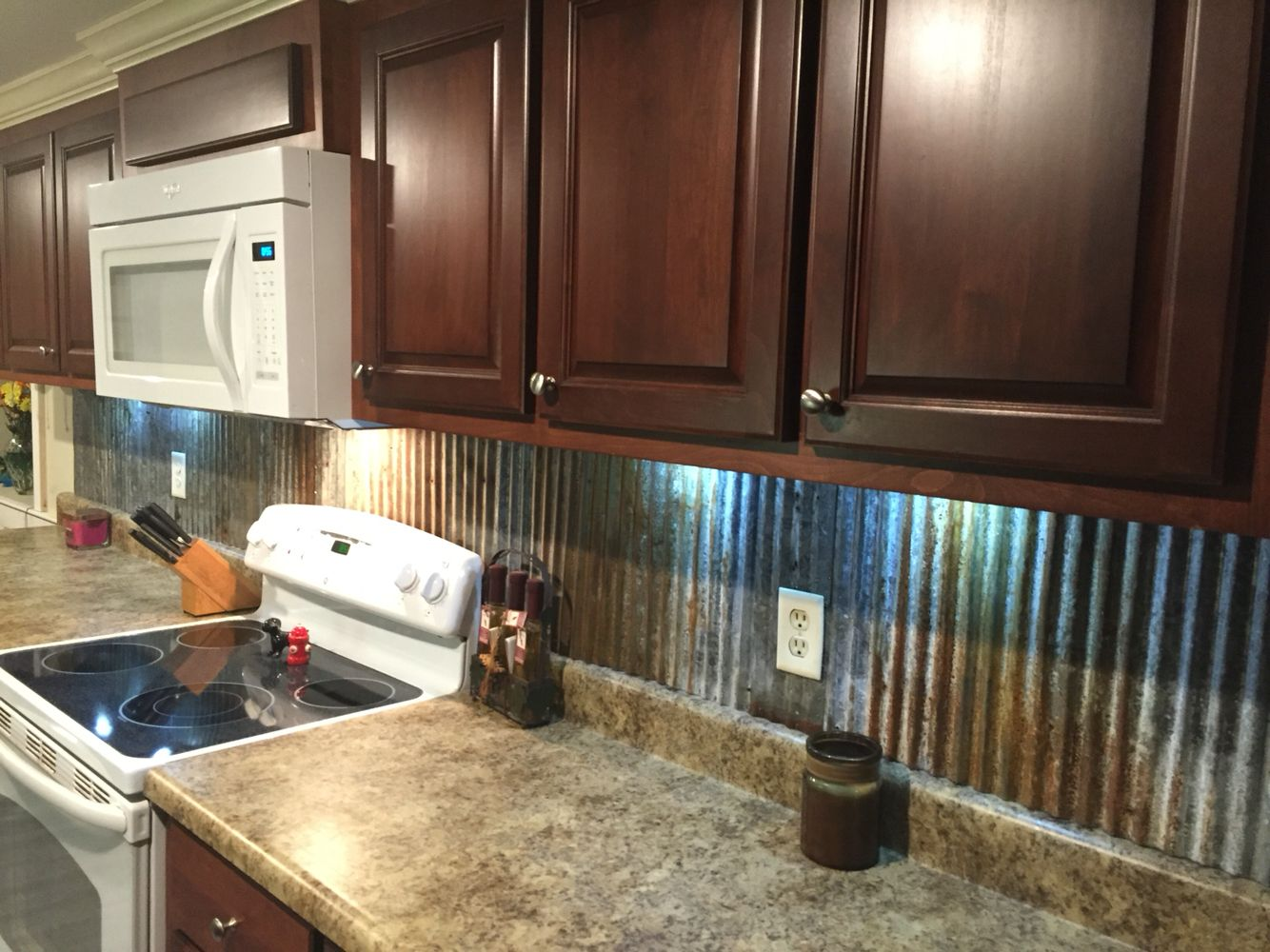 Rustic Backsplash From Reclaimed Tin Roofing Country Kitchen