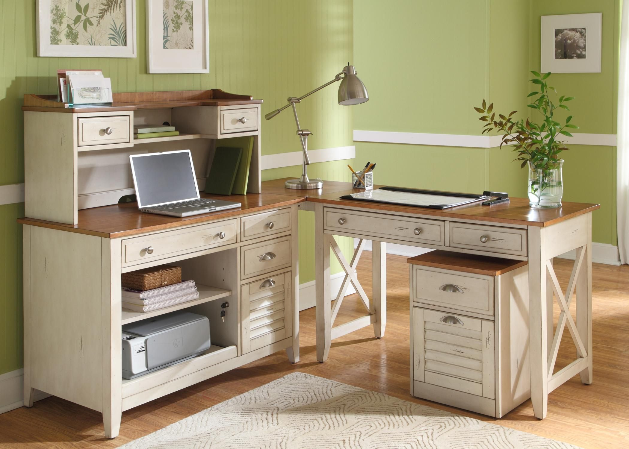 Complete L Shape Desk With Hutch, Credenza, And Writing Desk