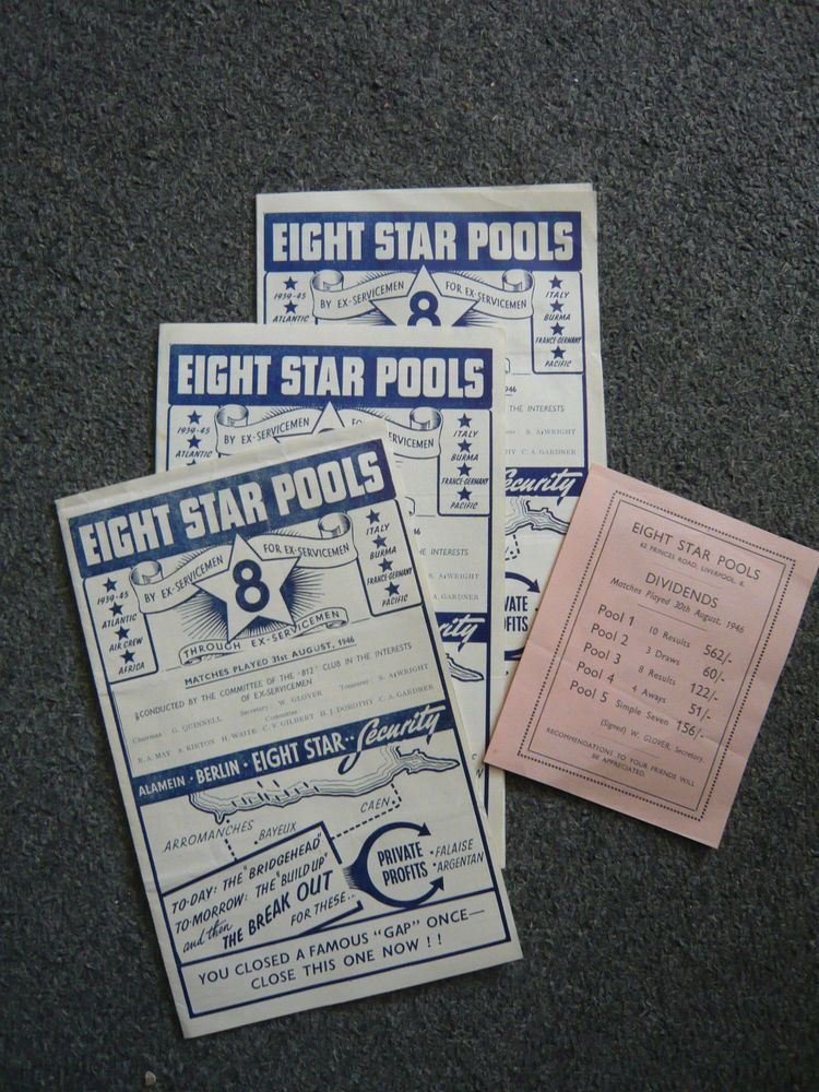 Vintage 1946 Eight Star Pools Football Coupons By Ex Servicemen For