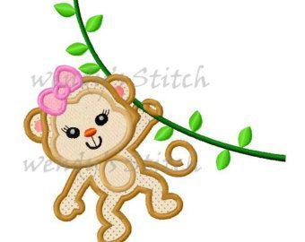 Chica mono con rama apliques bordados por LovelyStitchesDesign