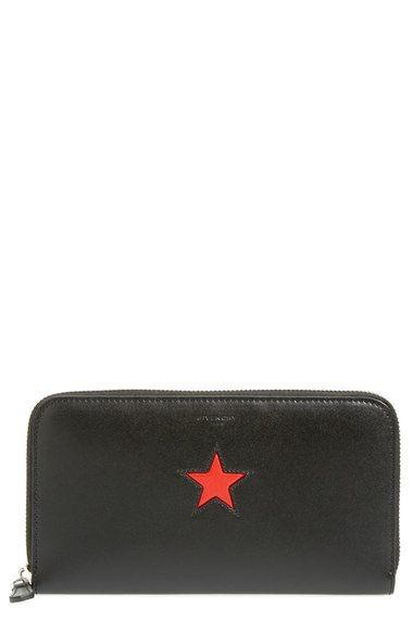 Givenchy 'Pandora' Star Patch Leather Zip Around Wallet available at #Nordstrom
