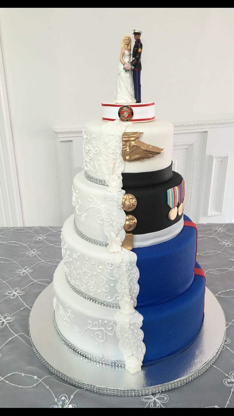 Marine Half Wedding Cake