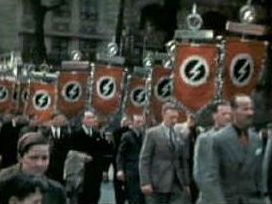 The British Union of Fascists march in London, circa 1939.