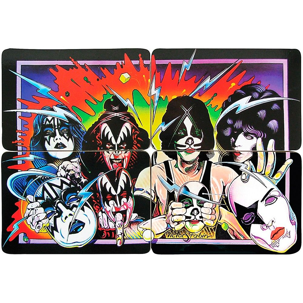 Entertainment Earth Kiss Unmasked Drink Coaster Set Of 4 Kiss